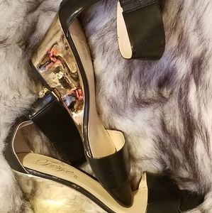 FERGIE ankle strap wedge NEVER WORN